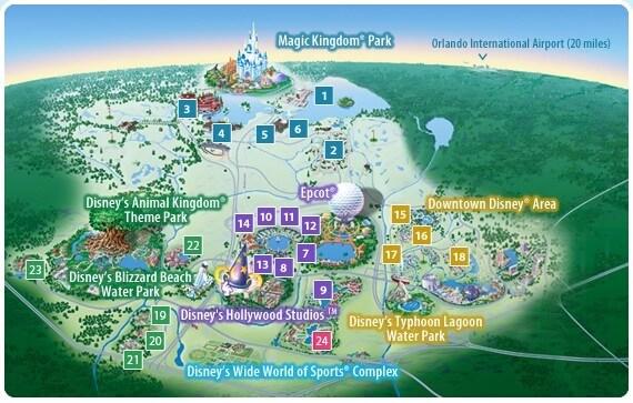 Parques da Disney em Orlando: mapa da Disney