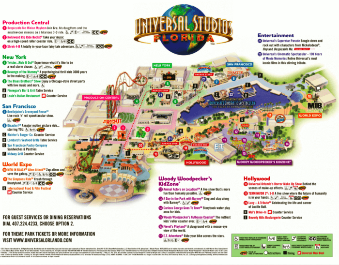 Parque Universal Studios Orlando: mapa do parque Universal Studios
