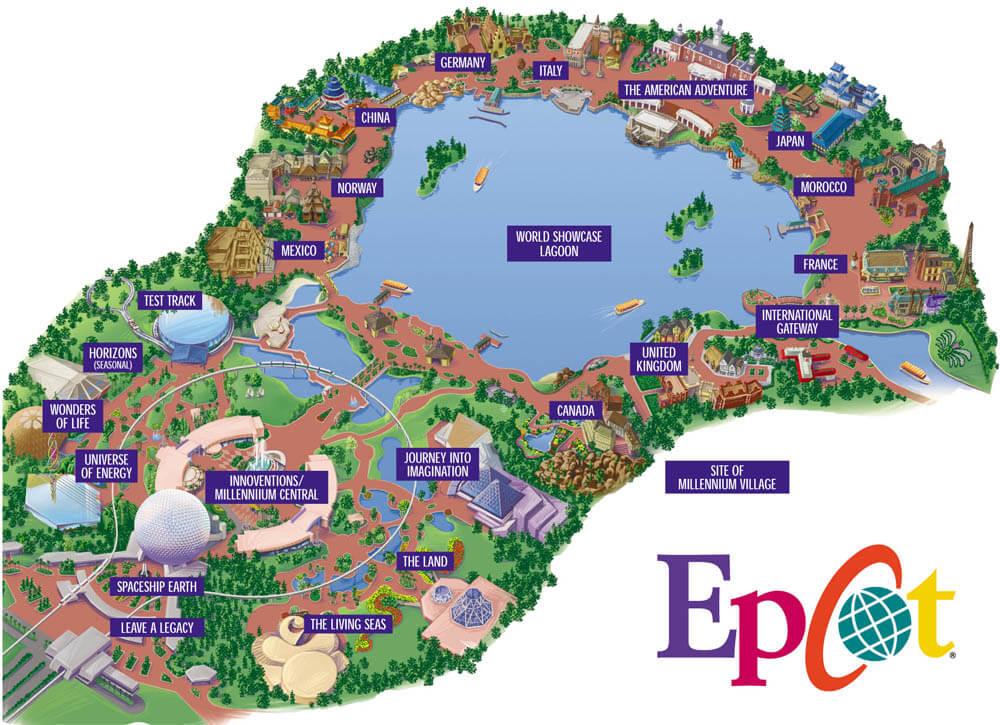 Parque Epcot da Disney Orlando: mapa do parque Disney Epcot