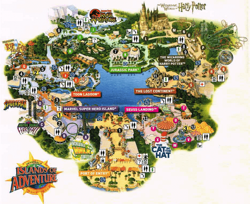 Parque Islands of Adventure Orlando: mapa do parque