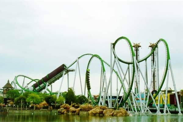 Parque Islands of Adventure Orlando: montanha-russa do Hulk