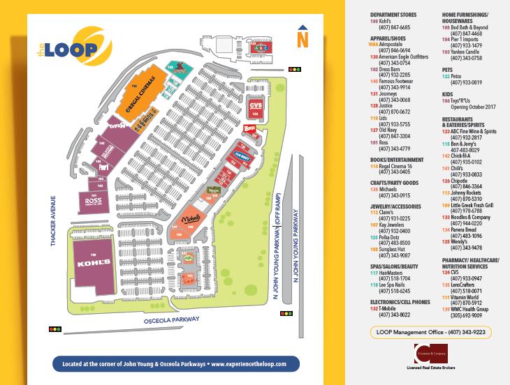 Outlets The Loop e The Loop West Kissimmee em Orlando: mapa de lojas