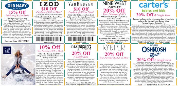 Outlet The Lake Buena Vista Factory Stores Orlando: coupons de desconto