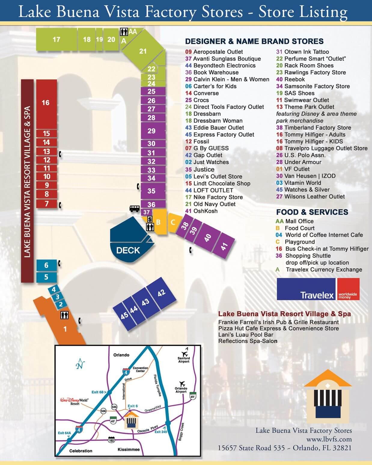 Outlet The Lake Buena Vista Factory Stores Orlando: mapa de lojas