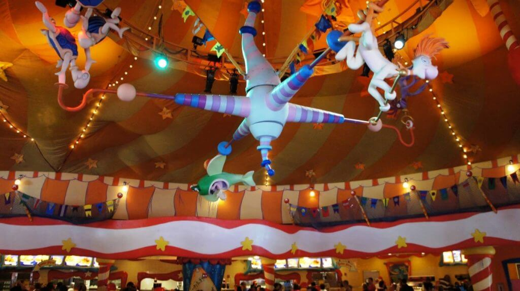 Restaurantes do parque Islands of Adventure em Orlando: Circus McGurkus Cafe Stoopendous