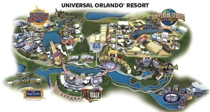 Hotel do Hard Rock na Universal Orlando: mapa do complexo Universal Orlando Resort