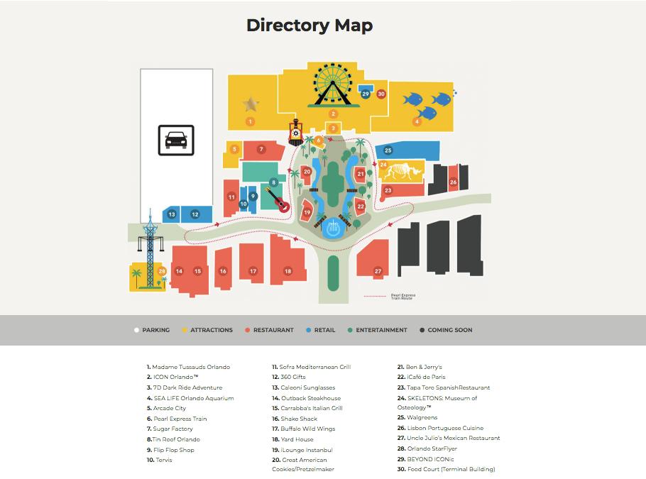 Complexo ICON Orlando 360 em Orlando: mapa
