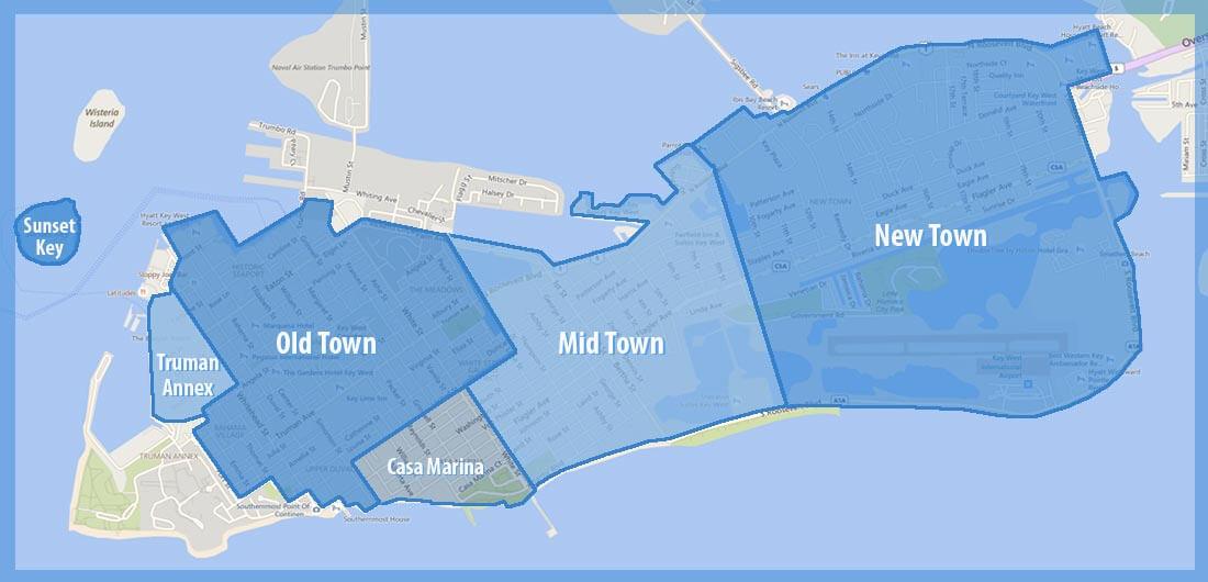 Onde ficar em Key West: mapa