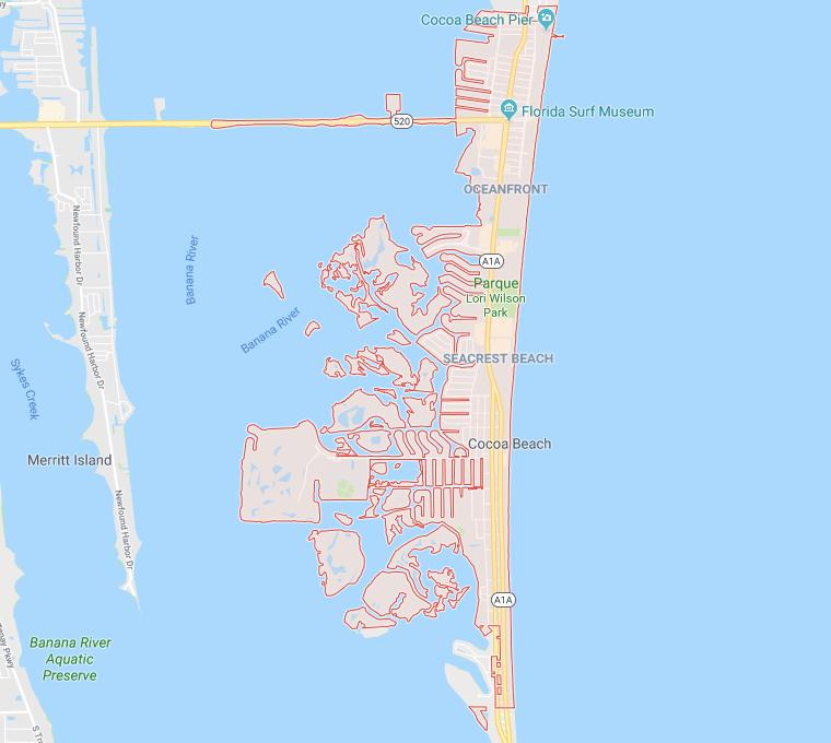 Onde ficar em Cocoa Beach: mapa