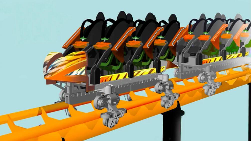 Tigris: nova montanha-russa do parque Busch Gardens: trilho da montanha-russa