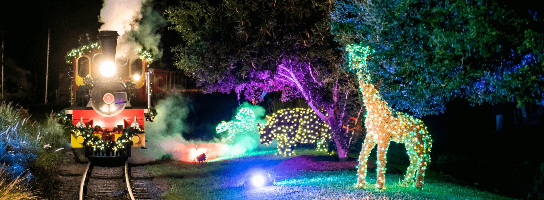 Christmas Town no parque Busch Gardens: Jingle Bell Express Train Ride na Christmas Town Village