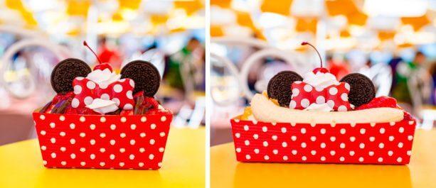 Guloseimas temáticas no Magic Kingdom da Disney Orlando: sundaes da Minnie