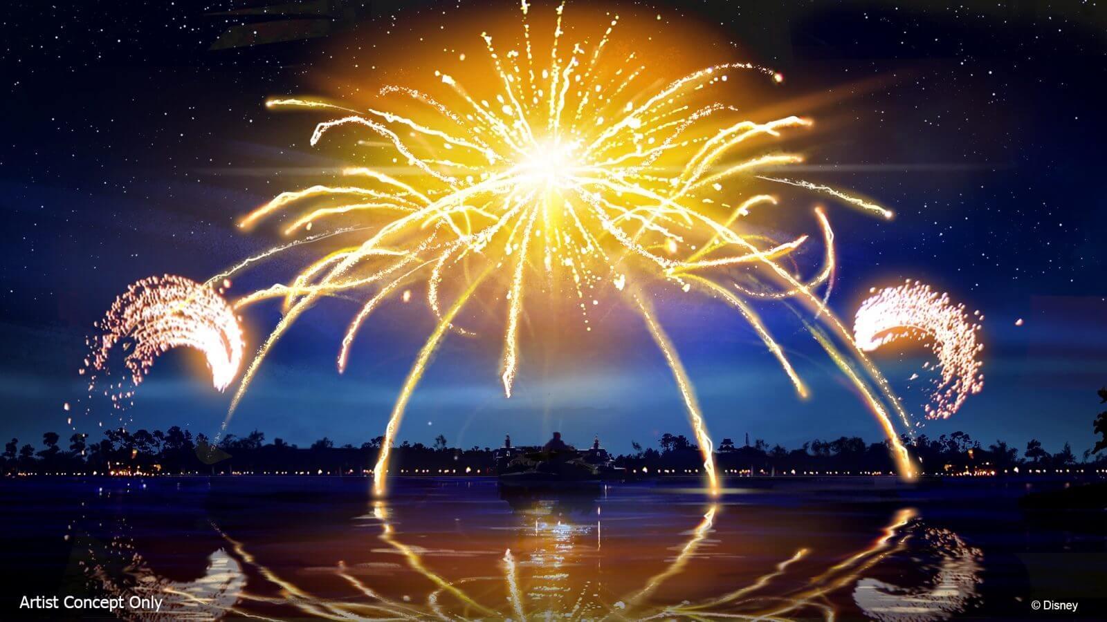 """Espetáculo """"Epcot Forever"""" no parque Epcot da Disney Orlando: fogos de artifício"""