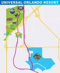 Novo parque Universal's Epic Universe na Universal Orlando: mapa