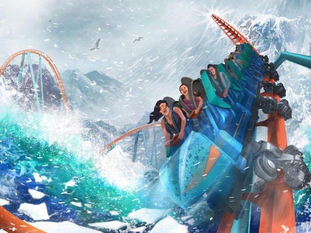 Montanha-russa Ice Breaker no SeaWorld em Orlando