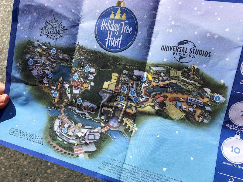 Caça ao tesouro de Natal na Universal Orlando: mapa
