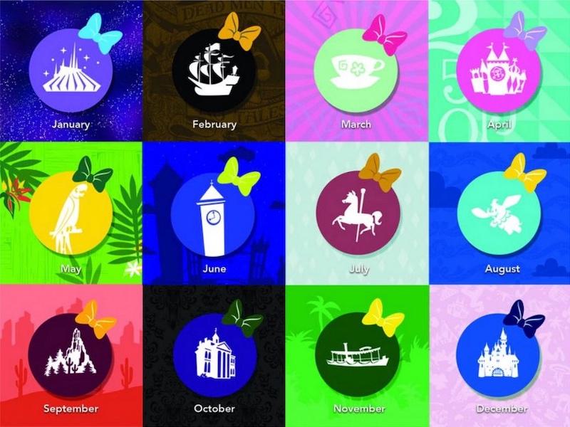 Produtos da Minnie em homenagem às atrações da Disney: atrações homenageadas a cada mês