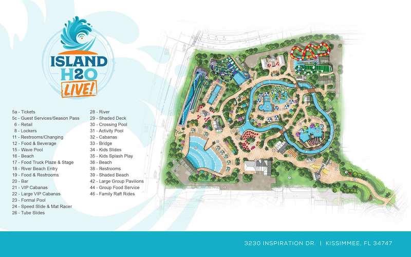 Parque aquático Island H2O Live! em Orlando: mapa do parque